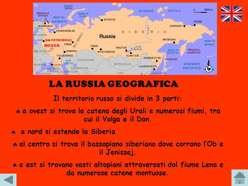 Il territorio russo si divide in 3 parti: