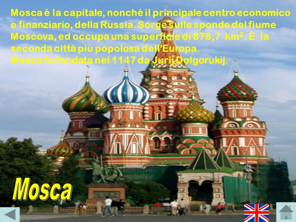 Mosca è la capitale, nonché il principale centro economico e finanziario, della Russia. Sorge sulle sponde del fiume Moscova, ed occupa una superficie di 878,7 km2. È la seconda città più popolosa dell Europa.