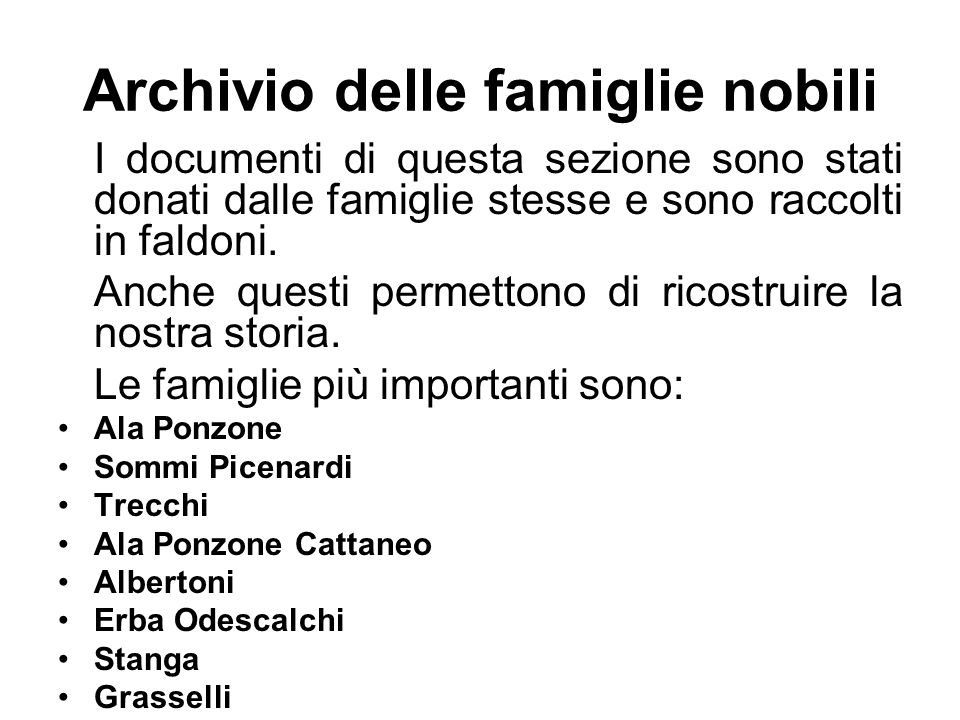 Archivio delle famiglie nobili