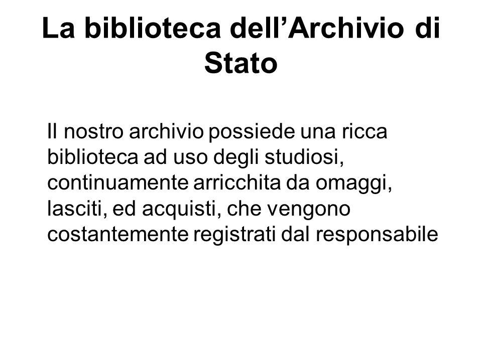 La biblioteca dell'Archivio di Stato