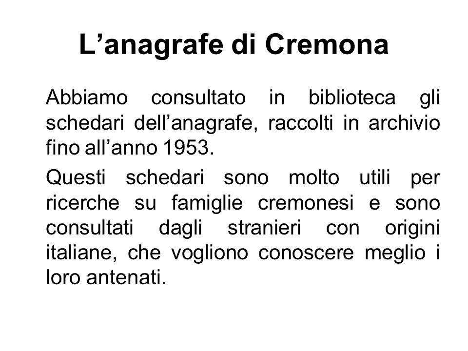 L'anagrafe di Cremona