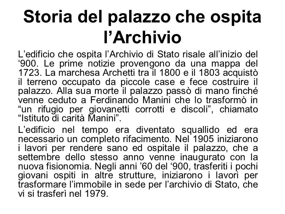 Storia del palazzo che ospita l'Archivio
