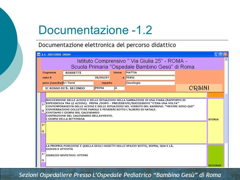 Documentazione -1.2 Documentazione elettronica del percorso didattico