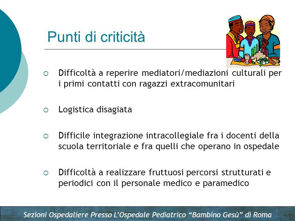 Punti di criticità Difficoltà a reperire mediatori/mediazioni culturali per i primi contatti con ragazzi extracomunitari.