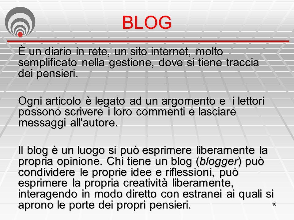 BLOG È un diario in rete, un sito internet, molto semplificato nella gestione, dove si tiene traccia dei pensieri.