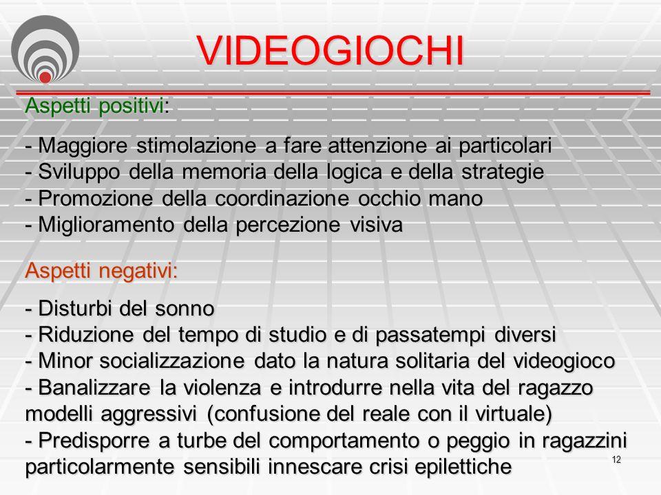 VIDEOGIOCHI Aspetti positivi: