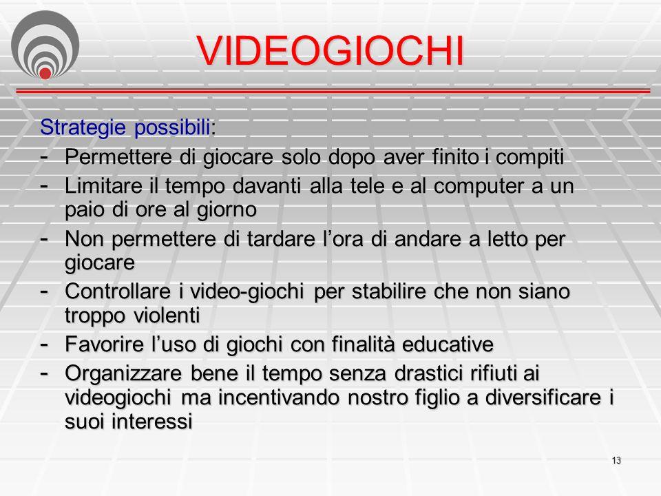 VIDEOGIOCHI Strategie possibili: