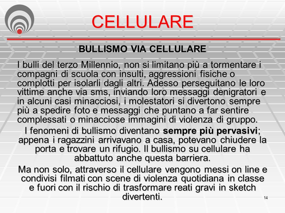 BULLISMO VIA CELLULARE
