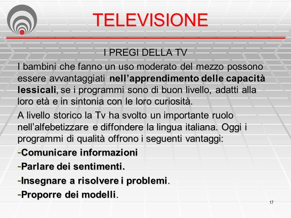 TELEVISIONE I PREGI DELLA TV