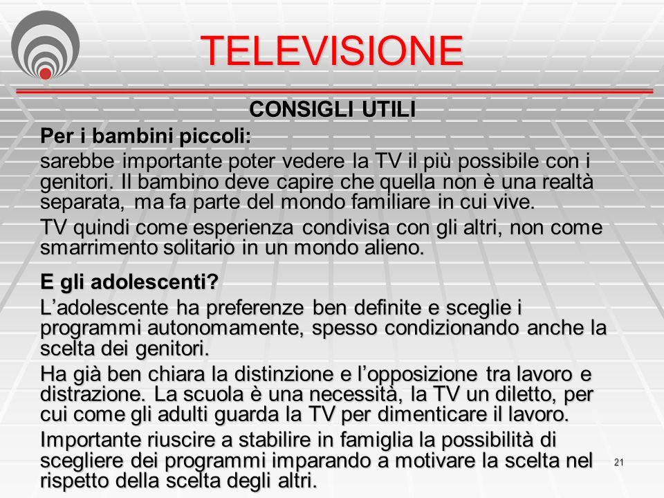 TELEVISIONE CONSIGLI UTILI Per i bambini piccoli: