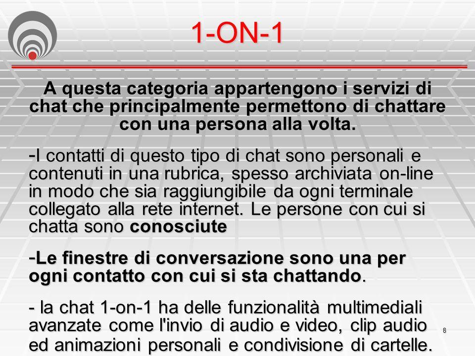 1-ON-1 A questa categoria appartengono i servizi di chat che principalmente permettono di chattare con una persona alla volta.