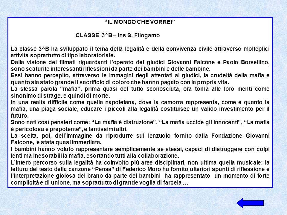 IL MONDO CHE VORREI CLASSE 3^B – Ins S. Filogamo.