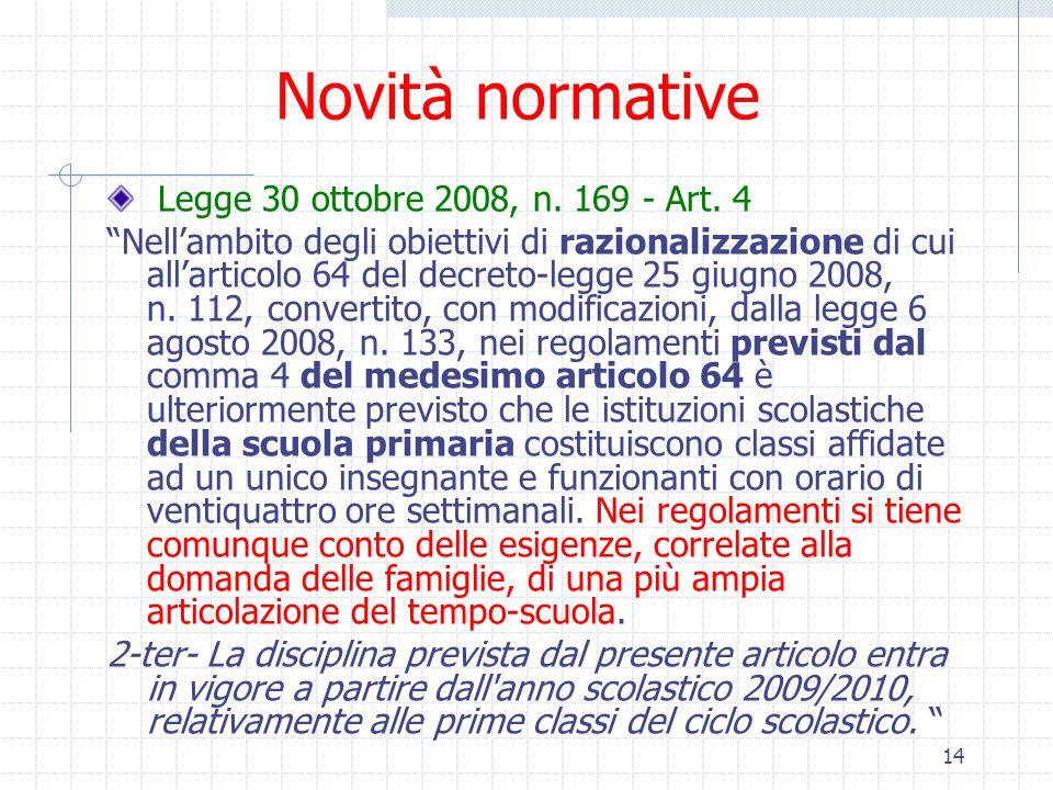 Novità normative Legge 30 ottobre 2008, n. 169 - Art. 4