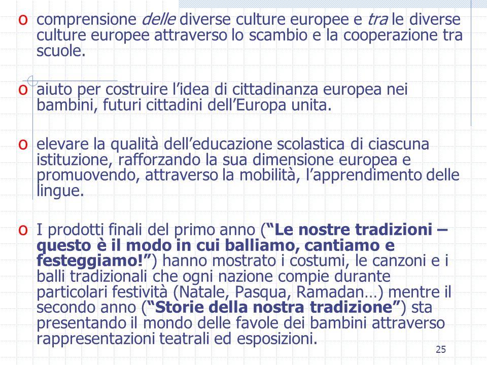 comprensione delle diverse culture europee e tra le diverse culture europee attraverso lo scambio e la cooperazione tra scuole.