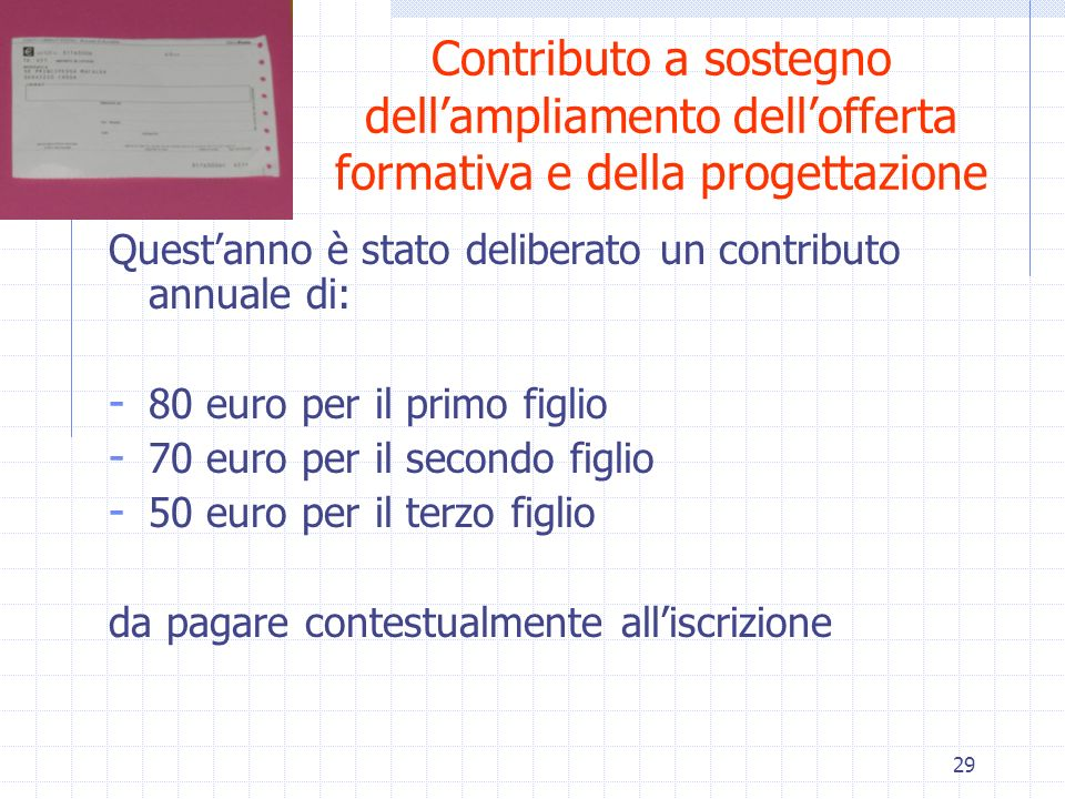 Contributo a sostegno dell'ampliamento dell'offerta formativa e della progettazione