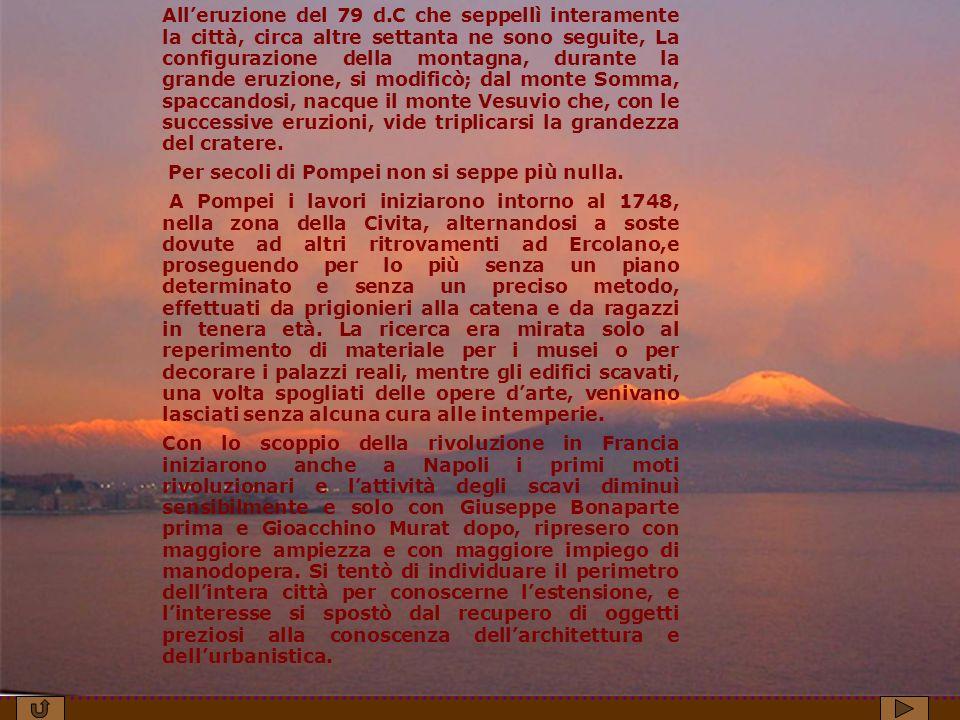 All'eruzione del 79 d.C che seppellì interamente la città, circa altre settanta ne sono seguite, La configurazione della montagna, durante la grande eruzione, si modificò; dal monte Somma, spaccandosi, nacque il monte Vesuvio che, con le successive eruzioni, vide triplicarsi la grandezza del cratere.