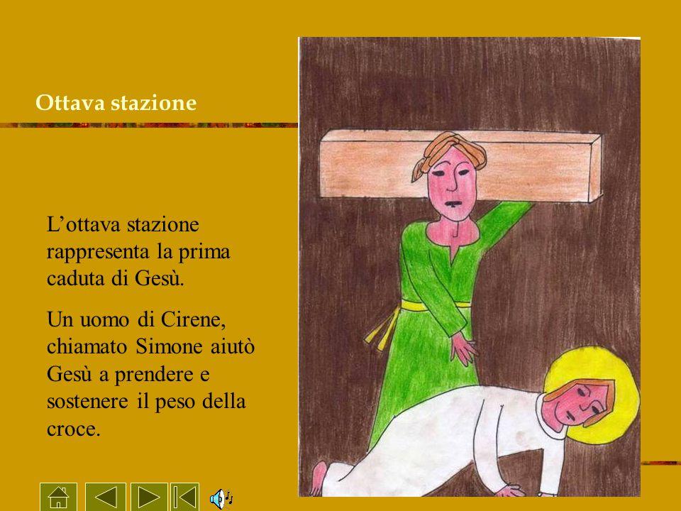 Ottava stazione L'ottava stazione rappresenta la prima caduta di Gesù.