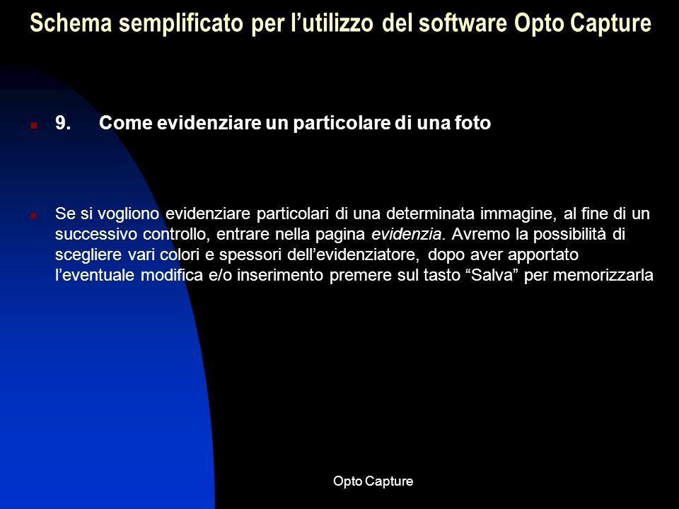 Schema semplificato per l'utilizzo del software Opto Capture
