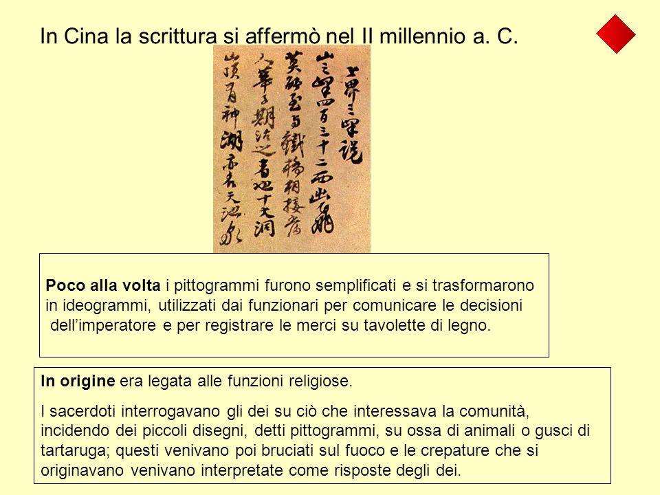 In Cina la scrittura si affermò nel II millennio a. C.