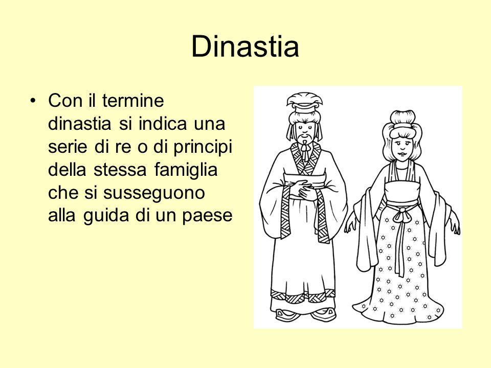 Dinastia Con il termine dinastia si indica una serie di re o di principi della stessa famiglia che si susseguono alla guida di un paese.