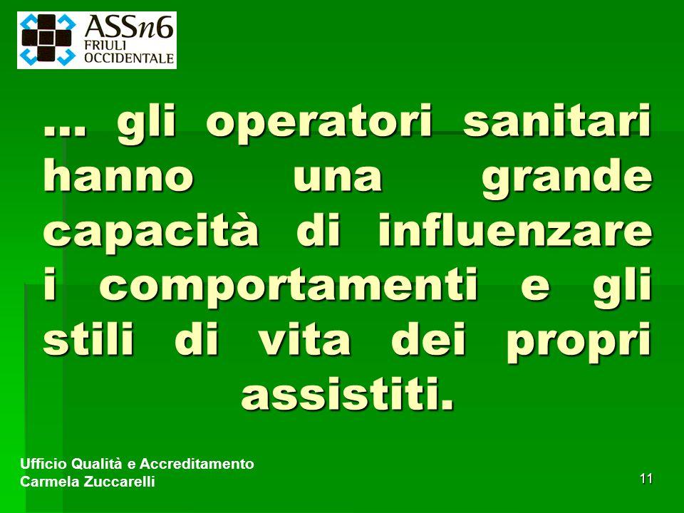 … gli operatori sanitari hanno una grande capacità di influenzare i comportamenti e gli stili di vita dei propri assistiti.