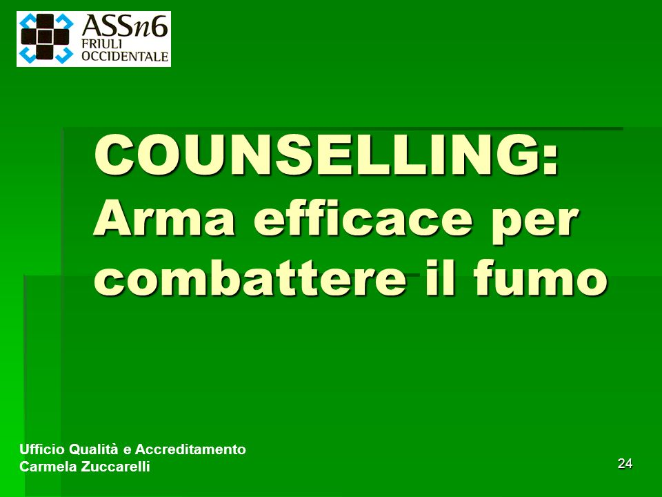 COUNSELLING: Arma efficace per combattere il fumo