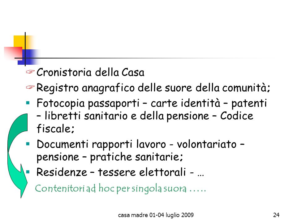 Cronistoria della Casa Registro anagrafico delle suore della comunità;