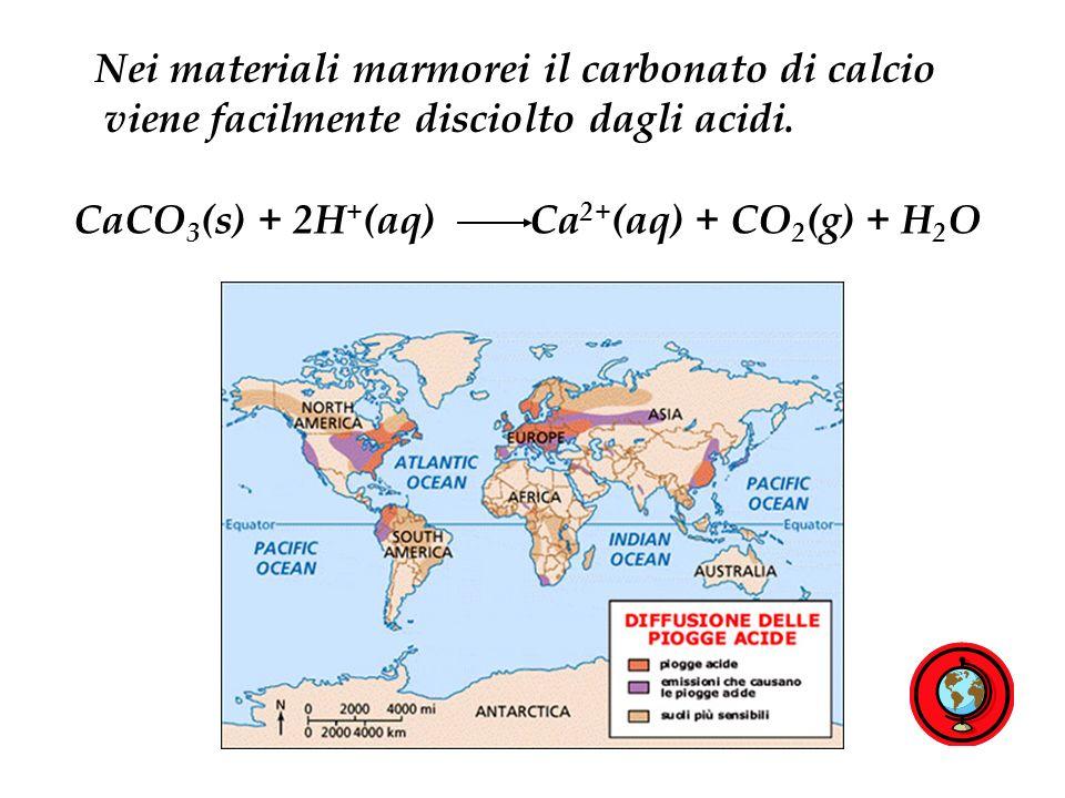 Nei materiali marmorei il carbonato di calcio viene facilmente disciolto dagli acidi.