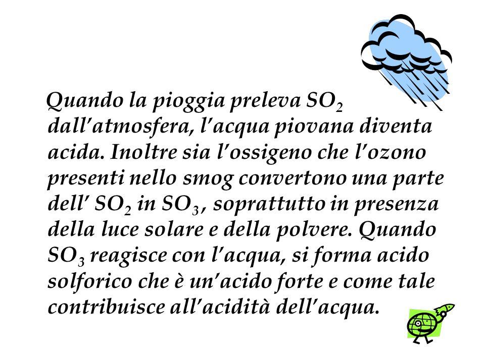 Quando la pioggia preleva SO2 dall'atmosfera, l'acqua piovana diventa acida.
