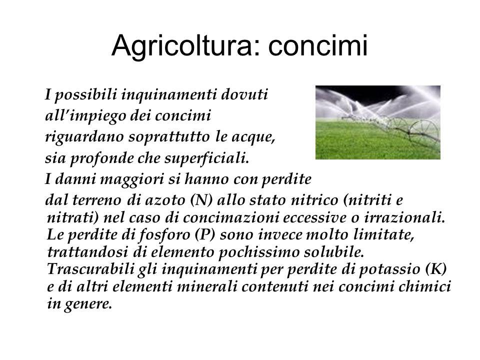 Agricoltura: concimi I possibili inquinamenti dovuti