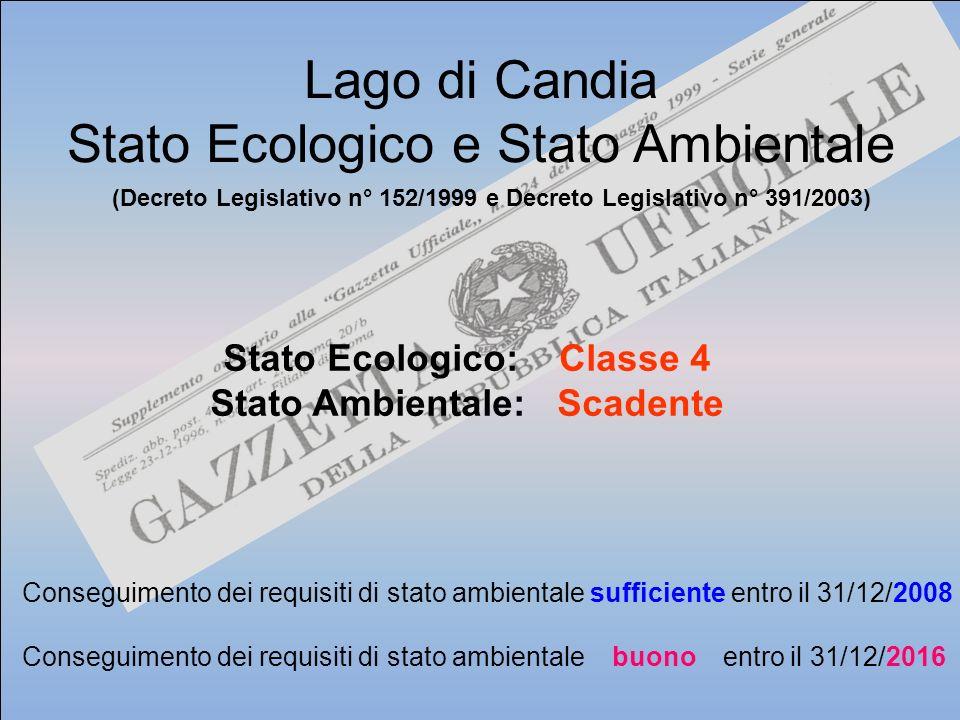 Stato Ecologico: Classe 4 Stato Ambientale: Scadente