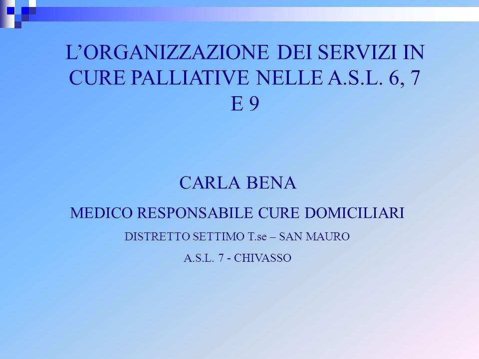L'ORGANIZZAZIONE DEI SERVIZI IN CURE PALLIATIVE NELLE A.S.L. 6, 7 E 9