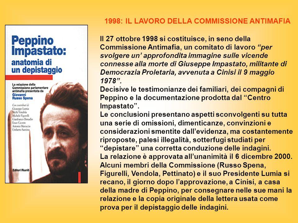 1998: IL LAVORO DELLA COMMISSIONE ANTIMAFIA