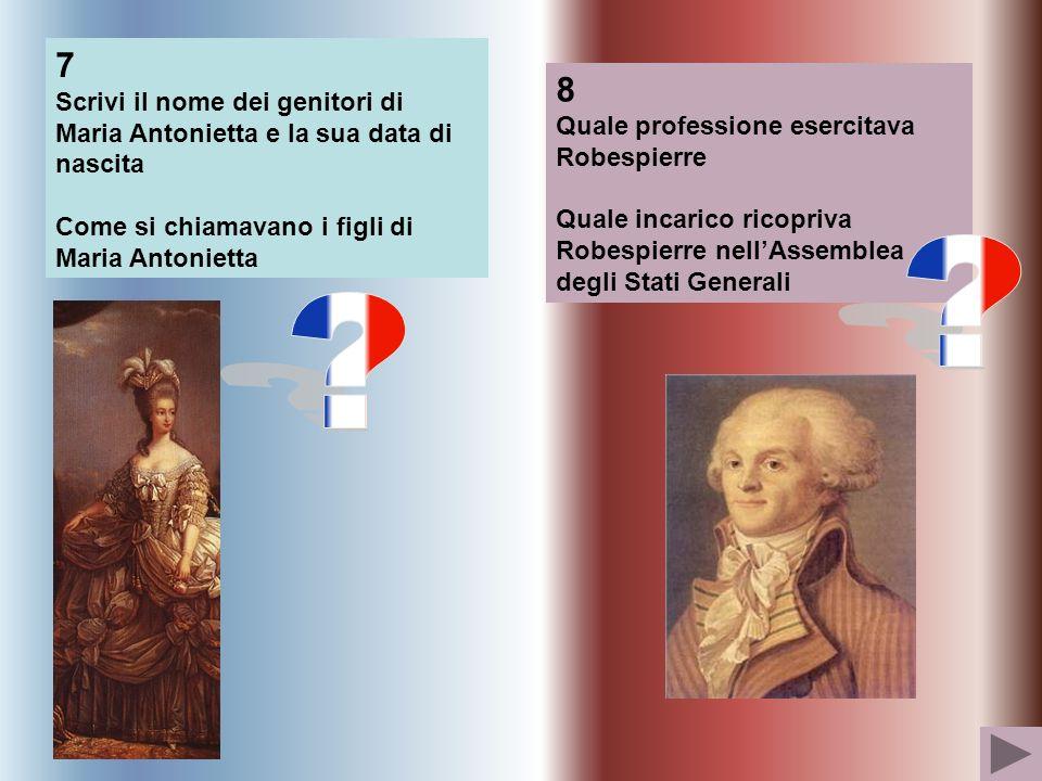7 Scrivi il nome dei genitori di Maria Antonietta e la sua data di nascita. Come si chiamavano i figli di Maria Antonietta.