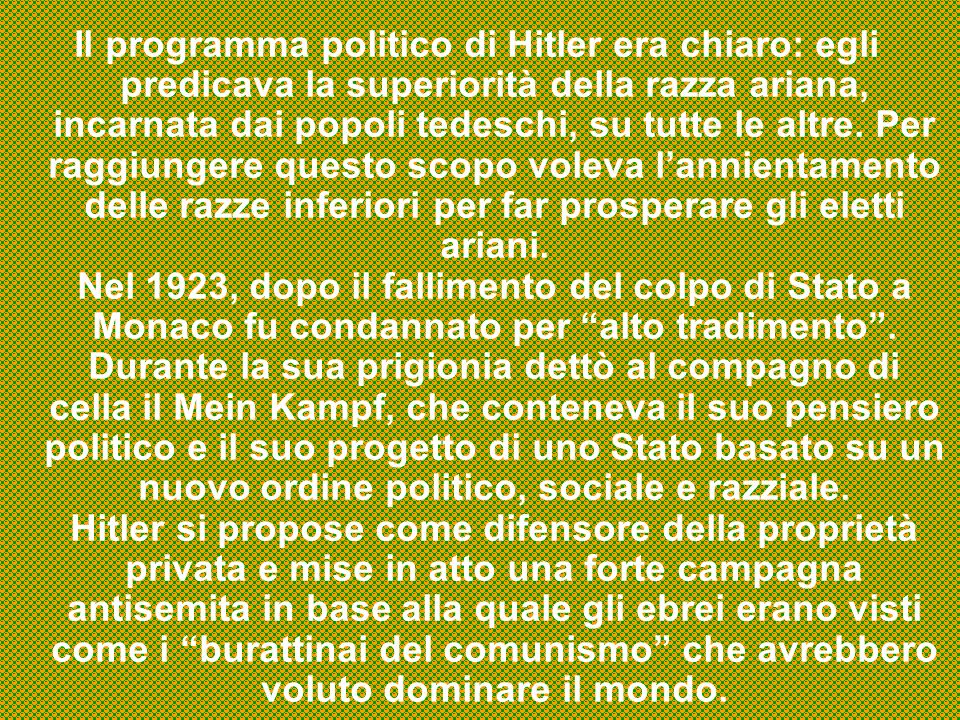 Il programma politico di Hitler era chiaro: egli predicava la superiorità della razza ariana, incarnata dai popoli tedeschi, su tutte le altre.