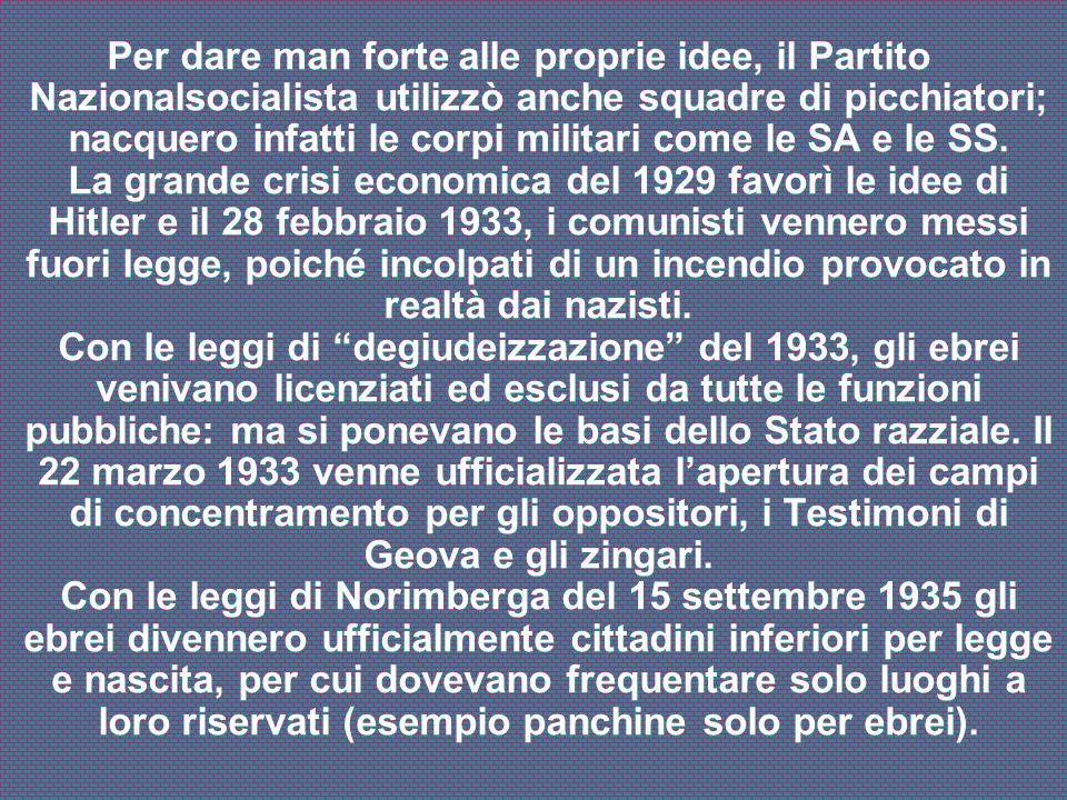 Per dare man forte alle proprie idee, il Partito Nazionalsocialista utilizzò anche squadre di picchiatori; nacquero infatti le corpi militari come le SA e le SS.