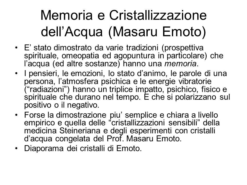 Memoria e Cristallizzazione dell'Acqua (Masaru Emoto)