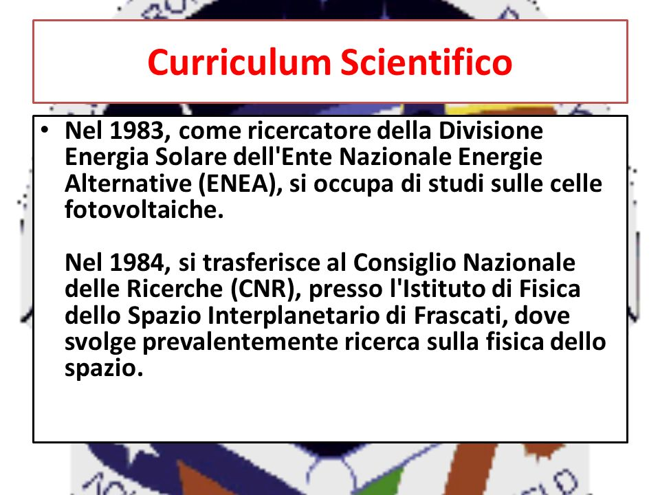 Curriculum Scientifico
