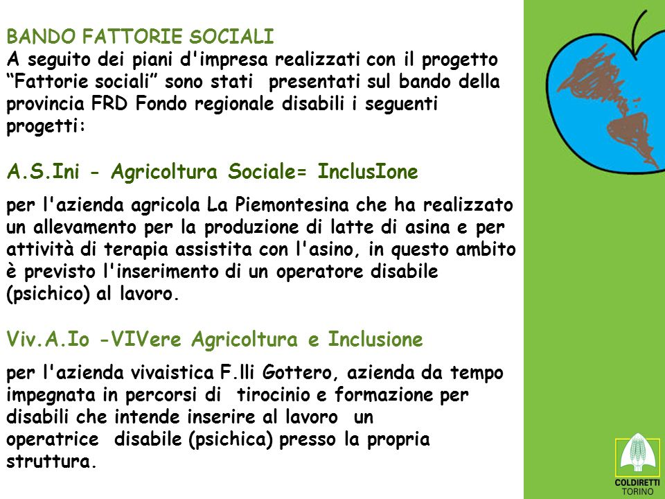 BANDO FATTORIE SOCIALI