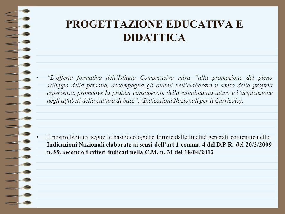 PROGETTAZIONE EDUCATIVA E DIDATTICA