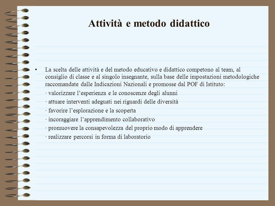 Attività e metodo didattico