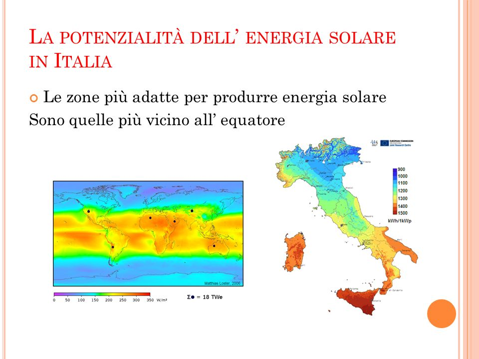 La potenzialità dell' energia solare in Italia