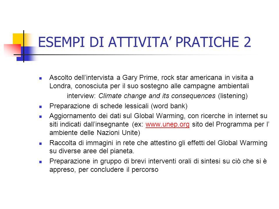 ESEMPI DI ATTIVITA' PRATICHE 2