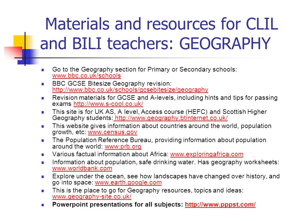 Materials and resources for CLIL and BILI teachers: GEOGRAPHY