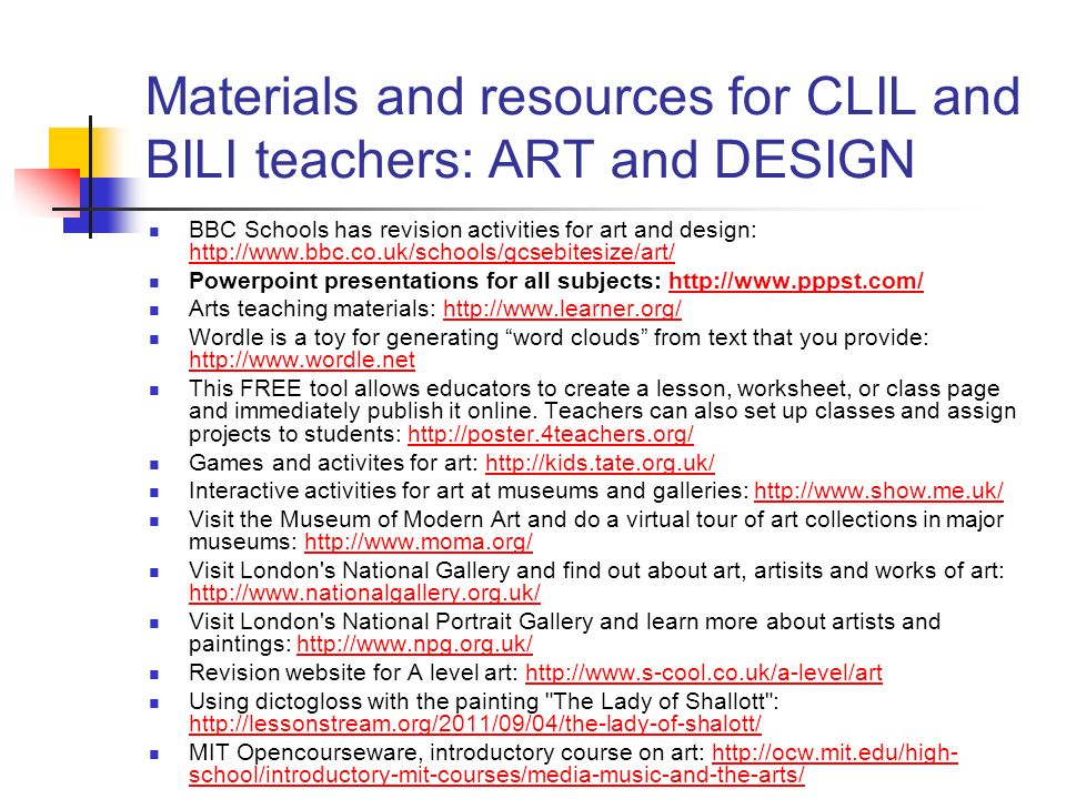 Materials and resources for CLIL and BILI teachers: ART and DESIGN