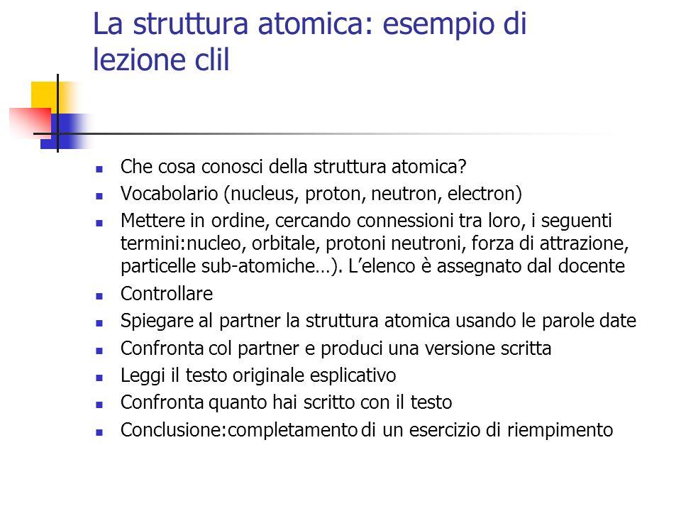 La struttura atomica: esempio di lezione clil