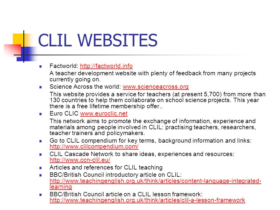 CLIL WEBSITES Factworld: http://factworld.info