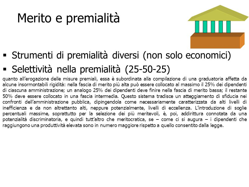 Merito e premialità Strumenti di premialità diversi (non solo economici) Selettività nella premialità (25-50-25)