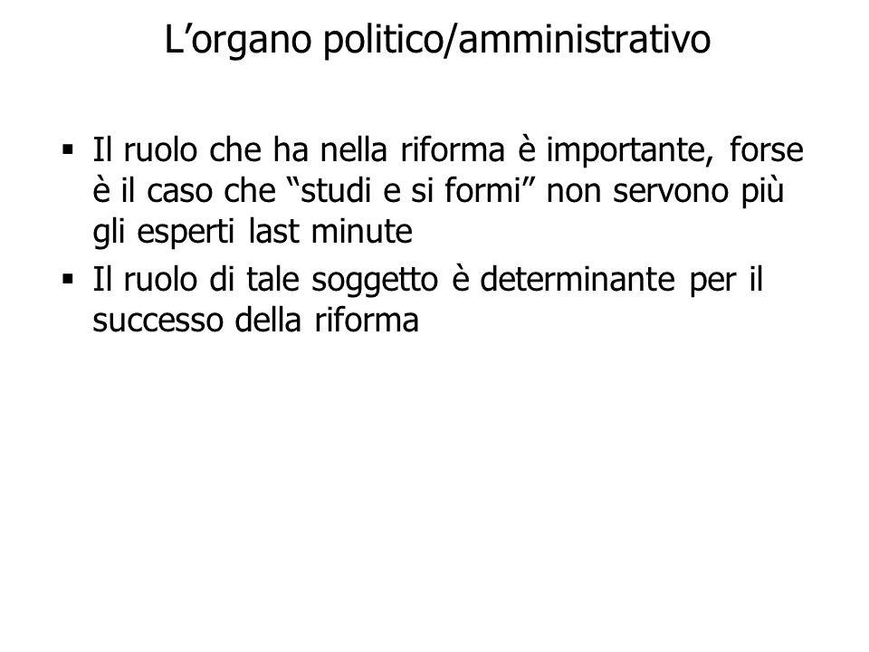 L'organo politico/amministrativo