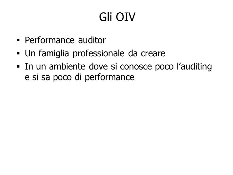 Gli OIV Performance auditor Un famiglia professionale da creare